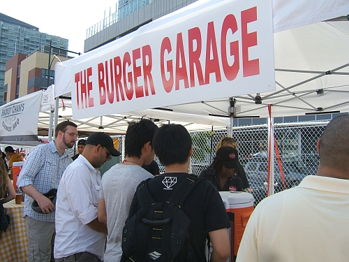 Even with the wind kicking up the lines were still long at Burger Garage.